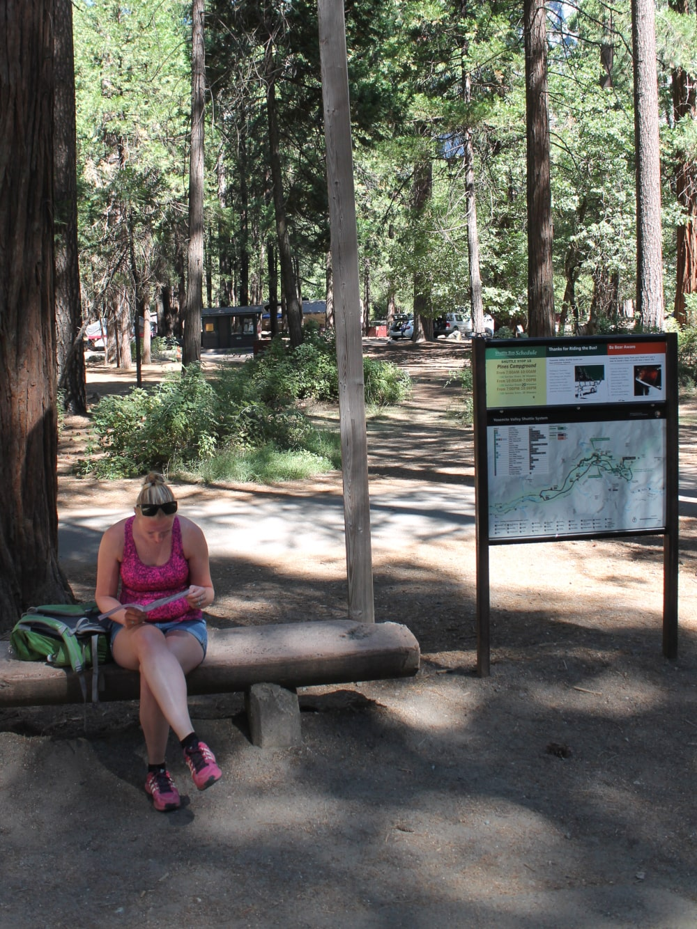 Waiting for the shuttle bus in Yosemite National Park