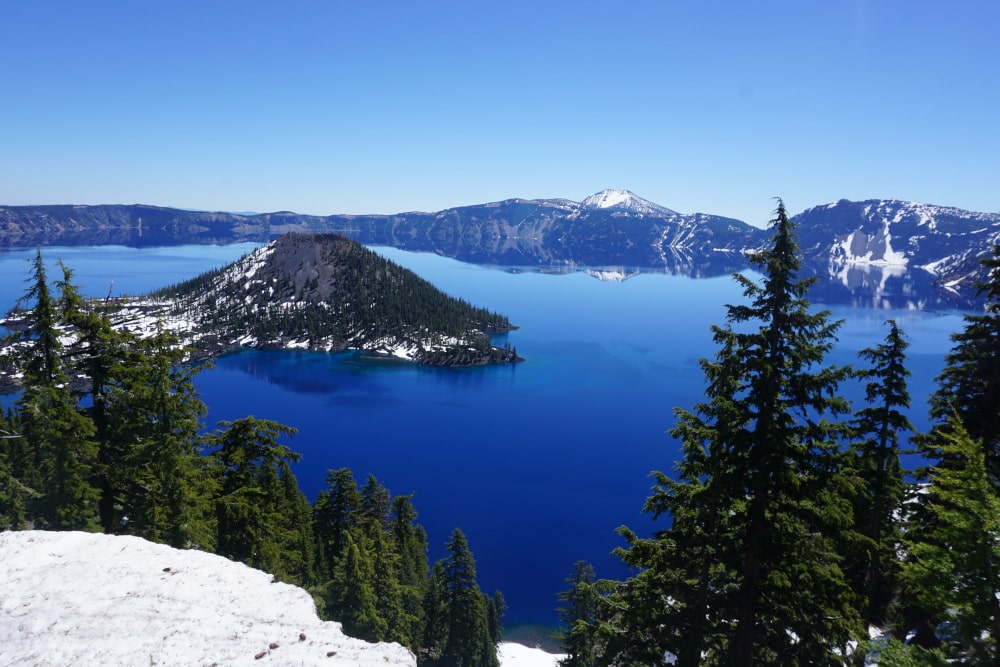 Crater Lake National Park covered in snow