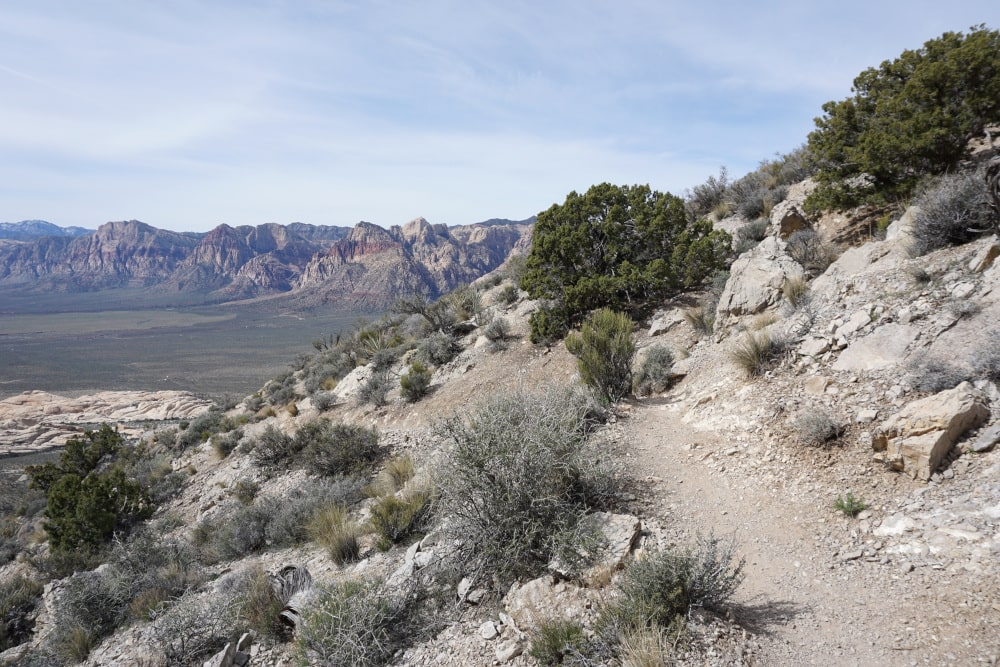 Klimmen op de trail in Red Rock Canyon