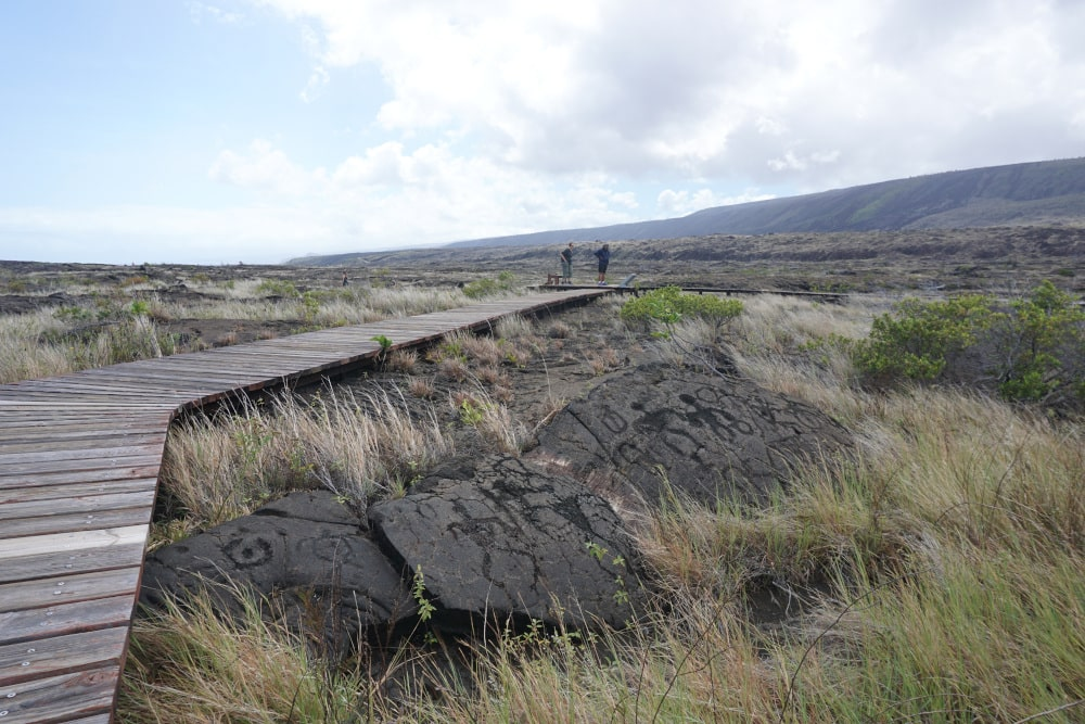 Petroglyphs in Volcanoes National Park.