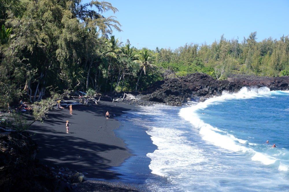 Black sand beach on Hawaii