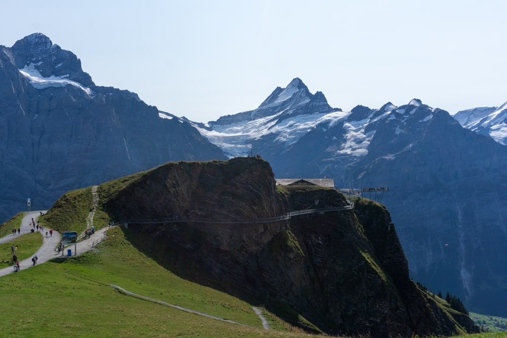 View of the First Cliff Walk and the path you need to follow to Grindelwald