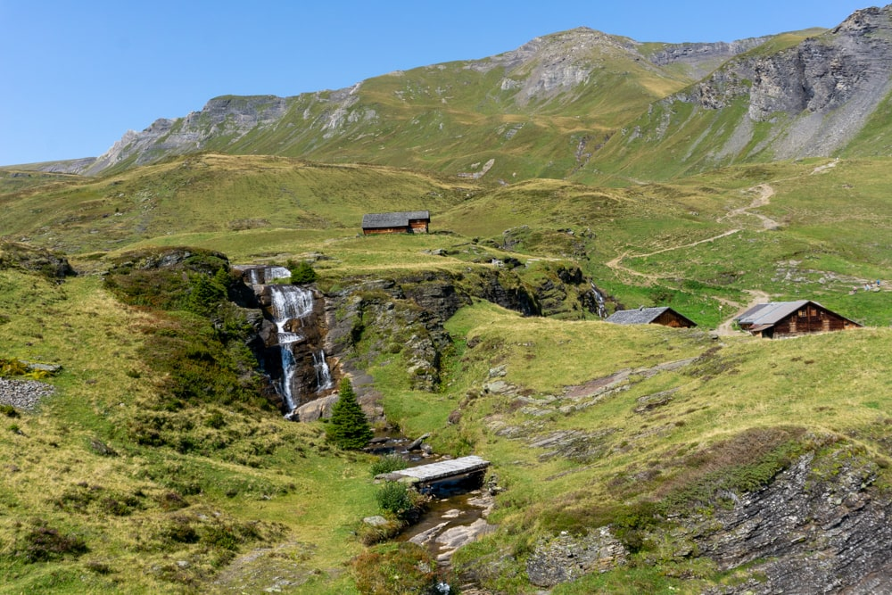Waterfall on the route between Grindelwald First and Grindelwald