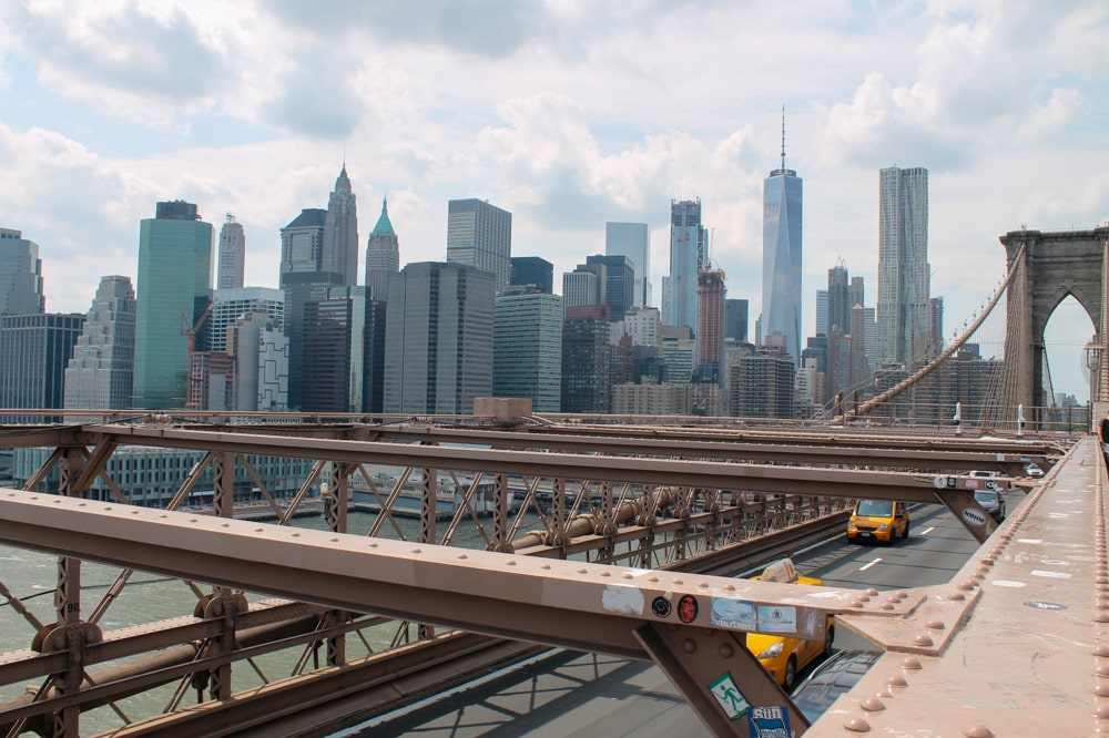 The New York skyline as seen from the Brooklyn Bridge.