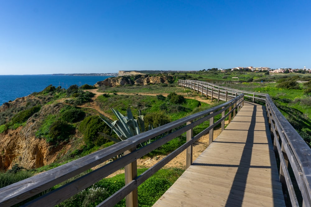 Wooden boardwalks - trail at Ponta Piedade