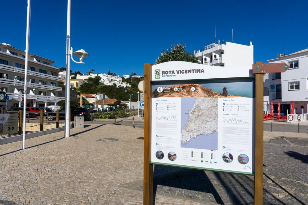 Sign with the itinerary and explanation of the Fishermen's Trail in Salema.